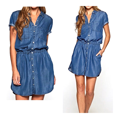 Tencel Button Down 'Denim' Shirt Dress with Tie Waist