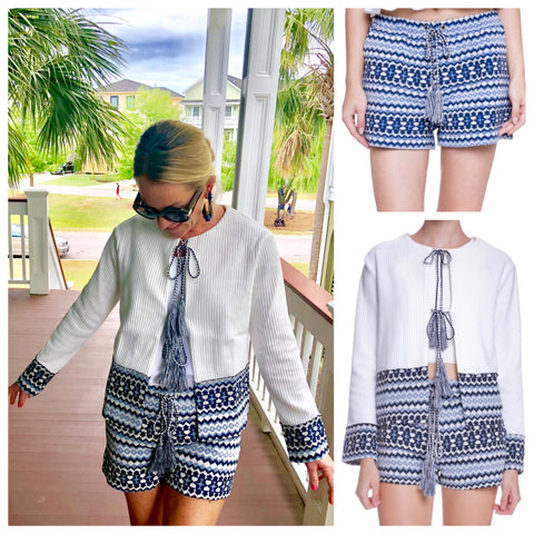 Navy & White Woven Contrast Shorts with Tassel Ties (Matching Top Sold Separately)