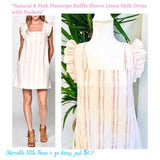 Natural & Pink Pinstripe Ruffle Sleeve Linen Shift Dress with Pockets