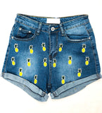 Denim Embroidered Pineapple Shorts