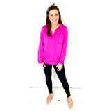 Hot Pink Satin Button Down High Low Hem Top