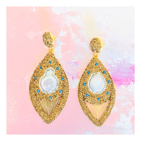 Turquoise Stud & Pave CRYSTAL Peacock Earrings with Mother of Pearl Center Accent