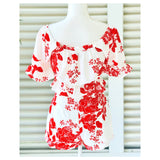 White & Red LINEN Blend Ruffled Puff Sleeve Top