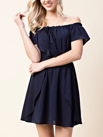 Navy Blue Off the Shoulder Tassel Tie Dress with Elastic Waist - FINAL SALE -