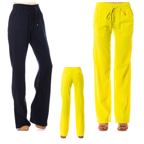 Yellow OR Navy Linen Pants with Drawstring Waist + Pockets