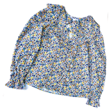 Blue Red Yellow Floral Puff Sleeve Ruffle Top