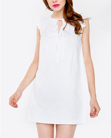 White Smocked Collar Flutter Sleeve Shift Dress