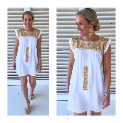 Paper White & METALLIC Gold Embroidered Textile Dress