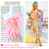 Pink One Shoulder Chiffon Ruffle Top