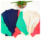 Navy or Ivory + Coral Pink & Green Color Block Sweater