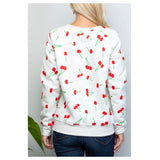 Grey Allover Cherry Print Sweatshirt