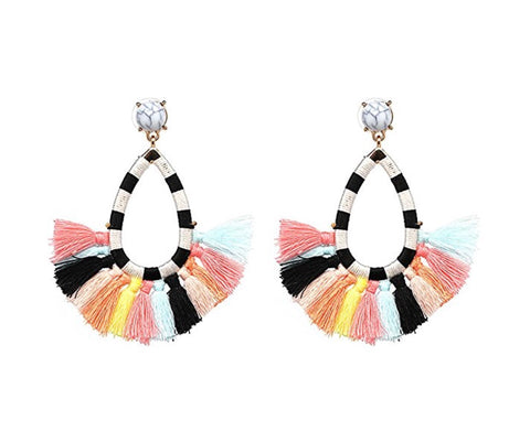 Teardrop Fringe Earrings, Multicolor