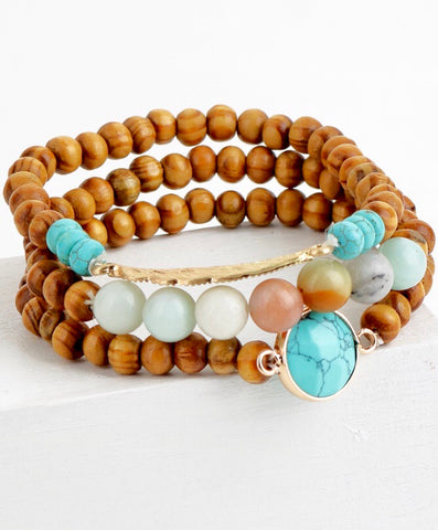 Mixed Natural Stone and Wood 3 Stretch Bracelet with Turquoise and Leaf Charm