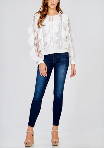 White Ruffle Frill Sweater