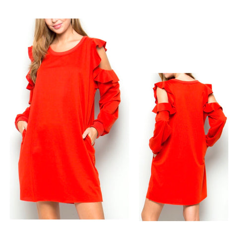 Tomato Red Ruffle Cold Shoulder Sweatshirt Dress