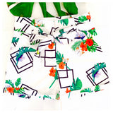 White Floral & Palm Leaf Tie Waist Shorts