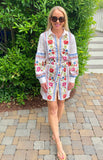 White Button Down Floral Bubble Sleeve Shirtdress with Self Belt Tie