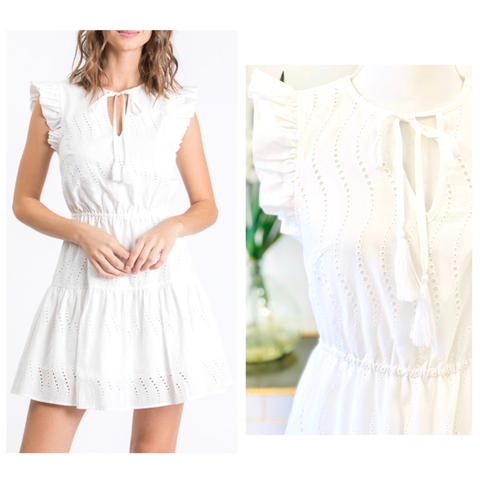 White Eyelet Accordion Flutter Sleeve Dress with Optional Tassel Tie