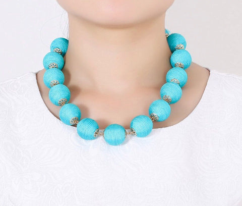 Turquoise Adjustable Length Ball Necklace