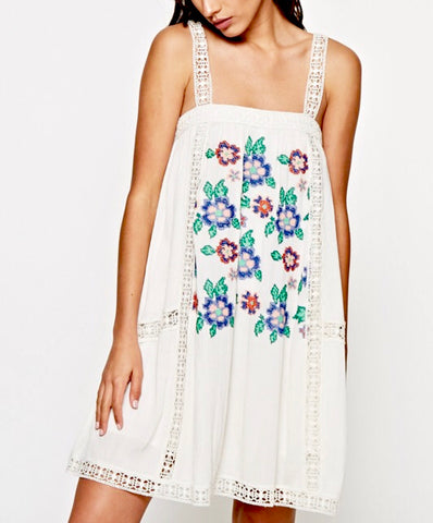 Off White Embroidered Sleeveless Tank Dress with Lace Straps