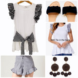 White T-Shirt with Black Gingham Frill Sleeves and Front or Back Tie