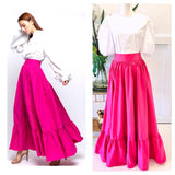 Fuchsia Ruffle Hem Maxi Skirt with Banded Waist & Pockets