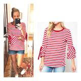 Red White Stripe Layered Bell Sleeve Top with Sleeve Ties