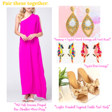 Hot Pink Grecian Draped One Shoulder Maxi Dress