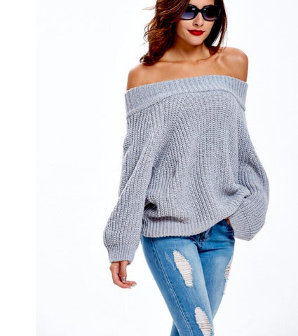 Grey Chunky Cable Knit Off or On Shoulder Sweater
