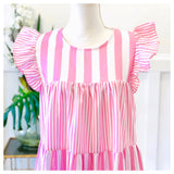 Baby Pink & White Stripe Flutter Sleeve Ruffle Hem Babydoll Dress with Button Back