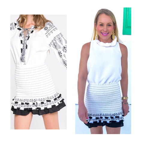 White & Black Embroidered Ruffle & Tassel Trim Smocked Skirt OR Top