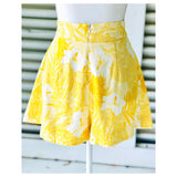 Bright Yellow High Waisted Floral Print Linen Blend Pleated Flare Shorts
