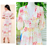White Marigold Pink & Magenta Poppy Floral Print Puff Sleeve Midi Dress with Optional Belt