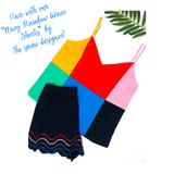 Red Blue Yellow Pink Navy & Green Poplin Cami with V Cut Back