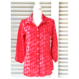 Electric Purple Acqua Red or Grey 3/4 Puff Sleeve Button Down Top