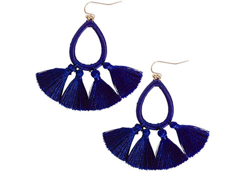 Navy Blue Teardrop Tassel Dangle Earrings