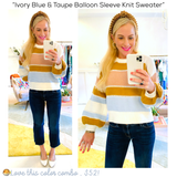 Ivory Blue & Taupe Balloon Sleeve Knit Sweater