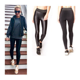 Black High Waisted Coated Athleisure Leggings