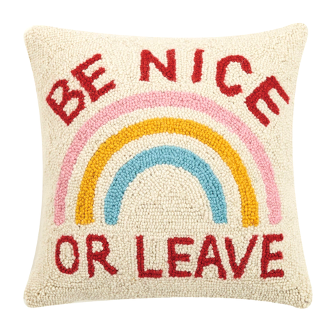 "Be Nice or Leave 16"" Wool Hook Pillow with Velvet Back"