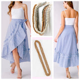 Blue Stripe High Low Maxi Wrap Skirt with Round Ruffle Hem Detail