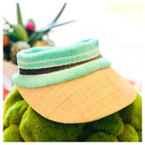 Terrycloth & Straw Visors in Pink, Bright Yellow & Seafoam Green