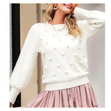 Winter White Lantern Sleeve Chevron Textured Knit Sweater with Pom Pom Appliqués & Banded Waist