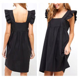 Black LINEN Ruffle Sleeve Shirred Front Shift Dress