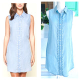 Chambray Scalloped Trim Button Down Shirtdress