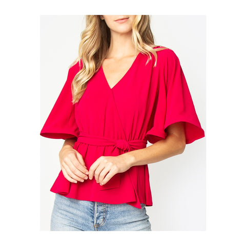 Berry Red Kimono Sleeve Wrap Top with Tie Waist