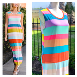 Rainbow Stripe Sleeveless Soft Knit Maxi Dress with Side Slit