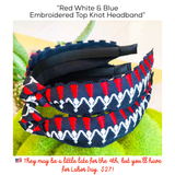 Red White & Blue Embroidered Top Knot Headband