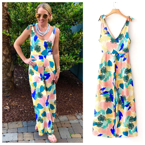 Tropical Leaf Palazzo Jumpsuit with Shoulder Ties