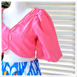 Designer Inspired Pink Puff Sleeve Rope Top