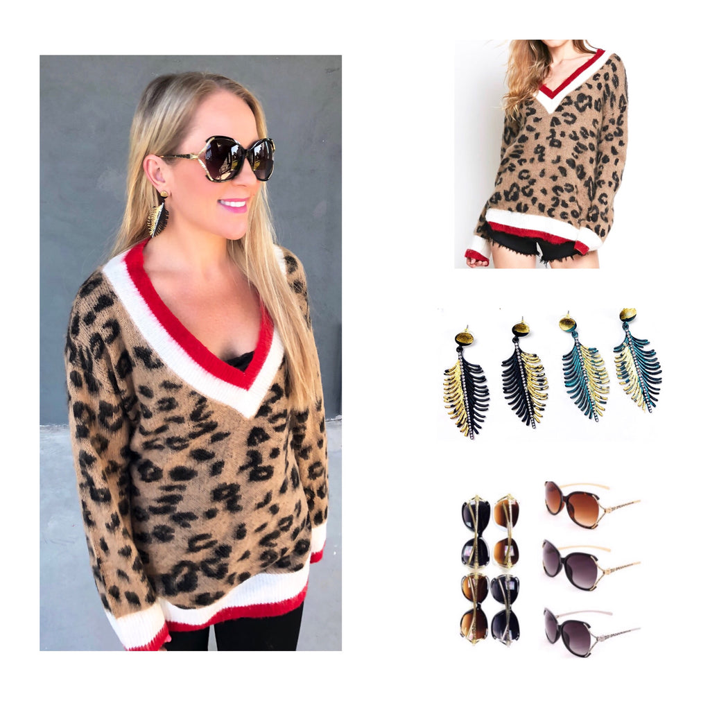 45c2508952ddc ... Leopard Brushed Knit Sweater with Red White Varsity Stripe Contrast ...